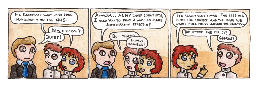 The next panel would be the scientists doing a high-five, and the politician saying 'I don't understand'.