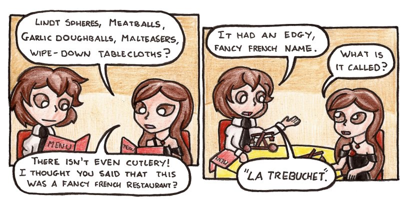 "If you look at this comic and your complaint is that ""Le Trébuchet' takes the masculine, then I argue this has passed feasibility testing."